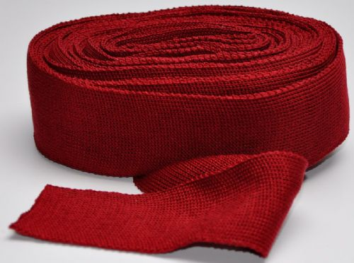 Red 6 cm Knitted Rib tape 100% mercerised Cotton Heavy weight approx 7.5metres